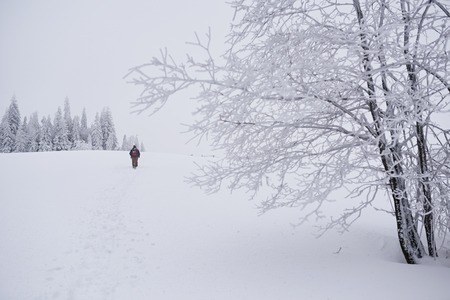 Couple hiking through a snowy field  in the wintertime