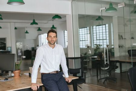 Confident young businessman leaning against an office desk