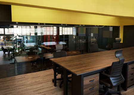 Interior of a contemporary office space after work hours Foto de archivo
