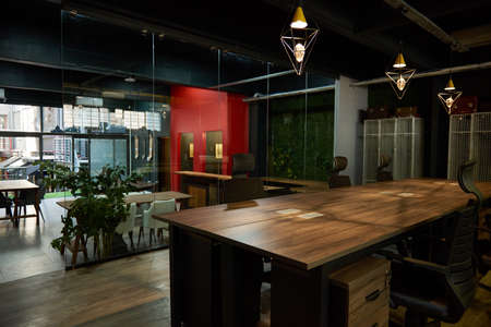 Interior of a modern office space after work hours Foto de archivo