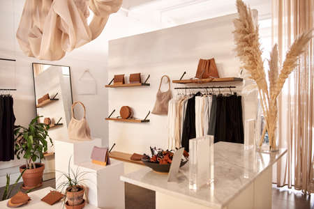Interior of stylish clothing shop with accessories on display 免版税图像