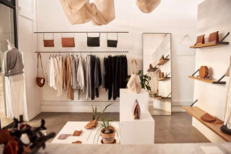 Interior of a stylish clothing and accessories boutique