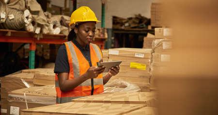 African female warehouse worker using a tablet to check stock in boxes 免版税图像