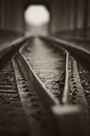 Railway track in the tunnel  Photo made with shallow depth of field  Ukraine, Carpathian, Ivano-Frankivsk