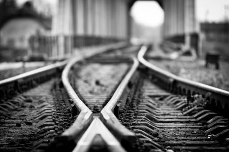 Branching of railway track after the bridge  Shallow Depth of Field  Ukraine, Carpathian, Ivano-Frankivsk