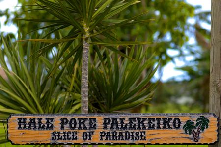 hand carved: hand carved wood sign with words in hawaiian and english