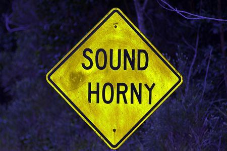 road sign with adaptation letter changing horn to horny