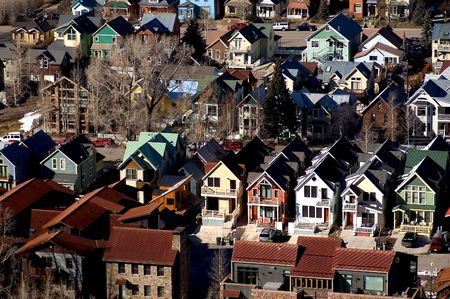 rij huizen: snoep gekleurde rij huizen in Telluride Colorado