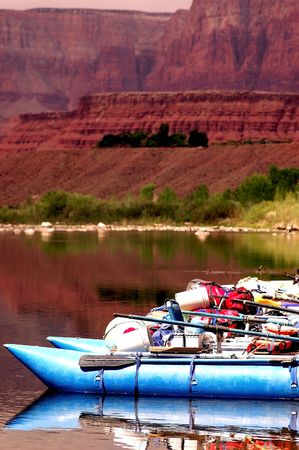 rafts lined up for launch on grand canyon trip at lees ferry