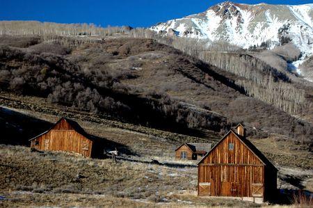 vintage pioneer homestead in colorado Stock Photo