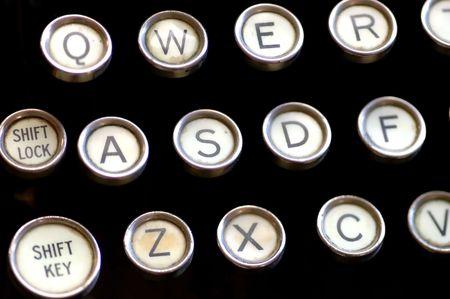 close up of antique typewriter keyboard