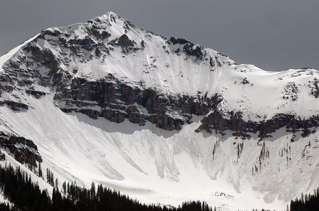 series of avalanches pouring down the jagged north face of a mountain