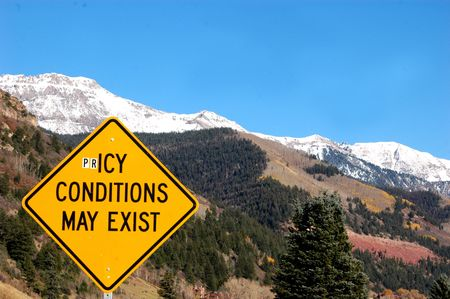 road warning sign on the entry to Telluride Stock Photo