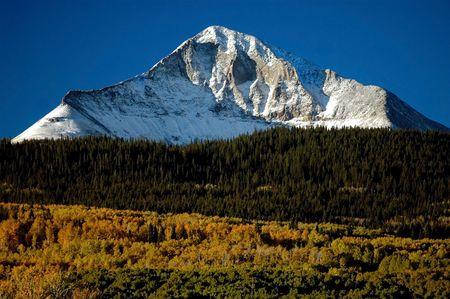autumn landscape of signature western colorado volcanic mountain Lone Cone near Norwood, Colorado