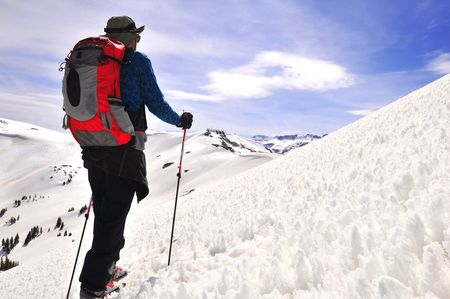 adult male back country ski touring