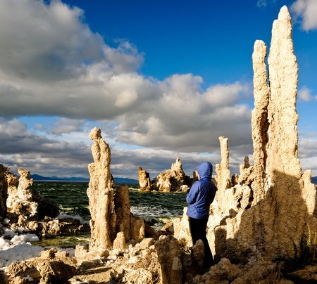 woman looking out on mono lake