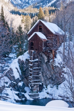 Winter portrait of the Crystal Mill an Icon of Colorado Mining history Stok Fotoğraf