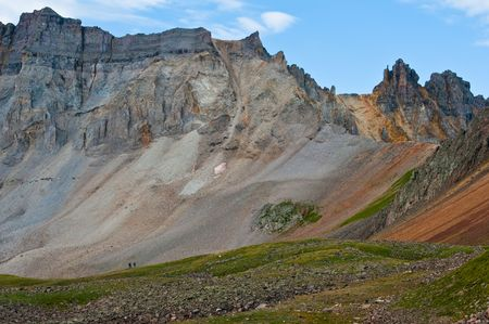 hikers on the trail in the San Juan Mountains of Colorado