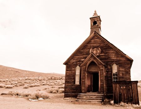 bodie: abandoned church in bodie, ca ghost town