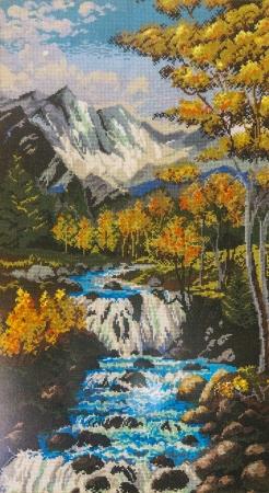 Cross stitch - water stream from mountain  Stock fotó