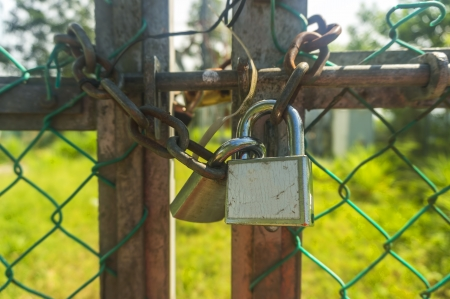 Old padlock and fence photo