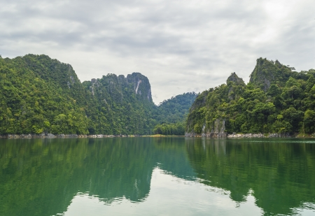 relaxion: Beautiful mountain rainforest with natural reflection Stock Photo