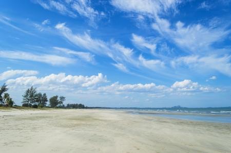 cielo despejado: Playa con los cielos azules