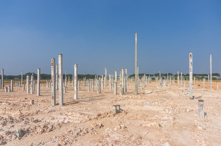 Piling work at construction site with blue skies background photo