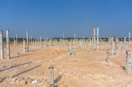 Piling work at construction site with blue skies  photo