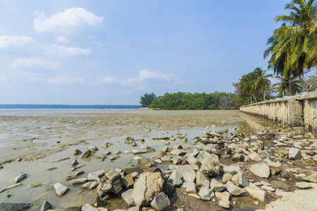 sunup: Beach stone wall