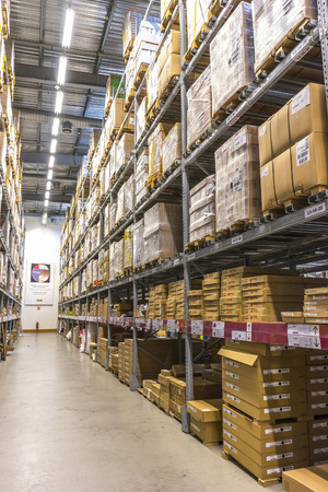 ikea: KUALA LUMPUR, MALAYSIA - JANUARY 25, 2015: Warehouse storage in an IKEA store. Founded in 1943, IKEA is the worlds largest furniture retailer. IKEA operates 351 stores in 43 countries.