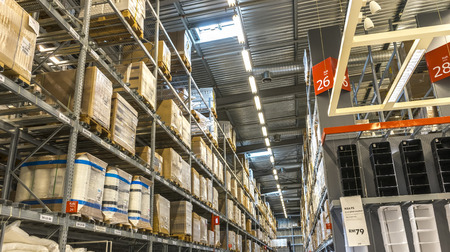 retailer: KUALA LUMPUR, MALAYSIA - JANUARY 25, 2015: Warehouse storage in an IKEA store. Founded in 1943, IKEA is the worlds largest furniture retailer. IKEA operates 351 stores in 43 countries.