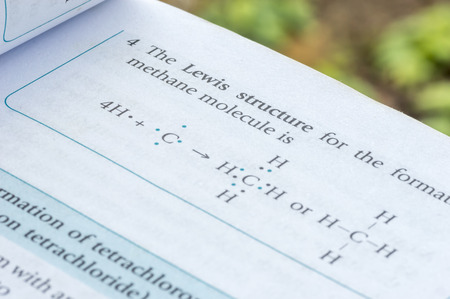 covalent: Formulation of molecule with lewis formula Stock Photo