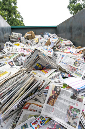 old newspaper: A stack of old newspaper for recycle Editorial