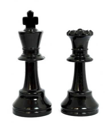 beaten: Black queen and king chess isolated white background