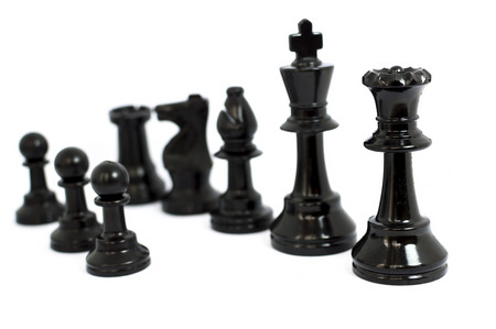 beaten: Black  chess isolated white background