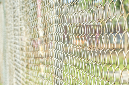 chain fence: Iron chain fence with blurred background