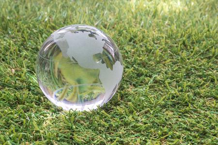 transparent globe: Transparent globe with green grass background