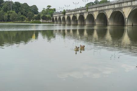 Lake with concrete bridge Stock Photo