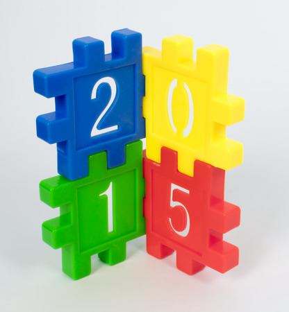 large group of objects: Colorful toy of numbers with white background
