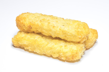 hash: Hash brown pattie on white background.