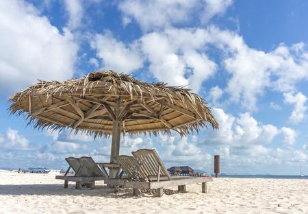 mabul: Beach umbrella at Mabul Island, Sabah Malaysia