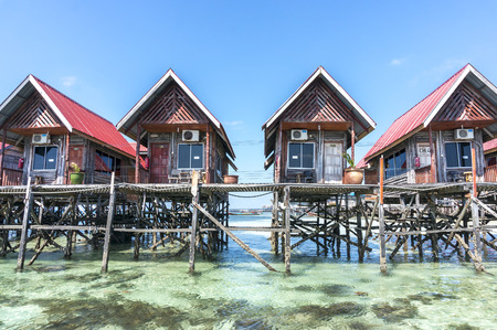 architecture bungalow: Water bungalows at Mabul Island in Borneo, Malaysia