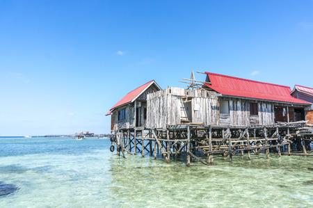 mabul: Water bungalows under renovation at Mabul Island in Borneo, Malaysia