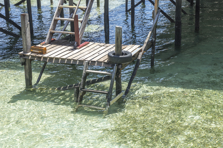 clear water: Wooden platform with clear water
