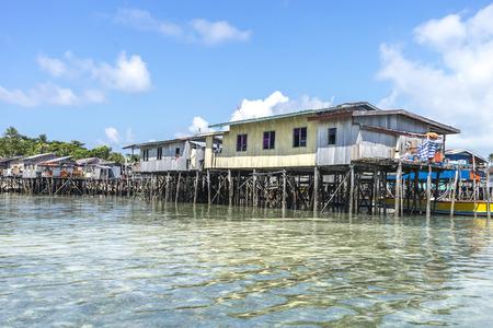 mabul: SABAH, MALAYSIA - AUGUST 15, 2015 : Traditional floating resort at Mabul Island, Sabah, Malaysia.