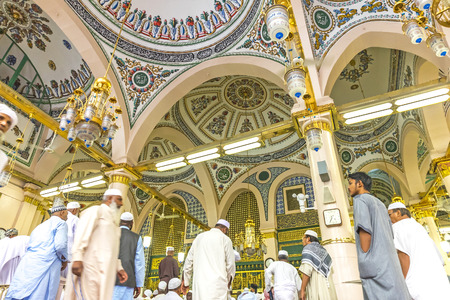 holiest: MEDINA-MAR 8 : Interior of Masjid Nabawi March 8, 2015 in Medina, Saudi Arabia. Nabawi Mosque is the second holiest mosque in Islam and here is Prophet Muhammad is laid to rest