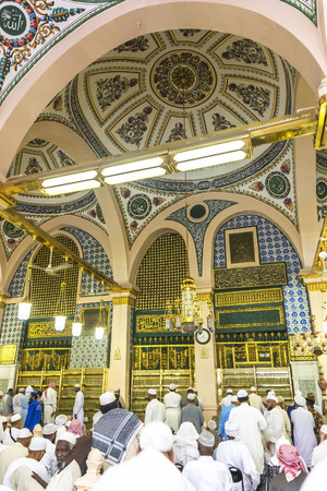 prophet: MEDINA-MAR 8 : Interior of Masjid Nabawi March 8, 2015 in Medina, Saudi Arabia. Nabawi Mosque is the second holiest mosque in Islam and here is Prophet Muhammad is laid to rest