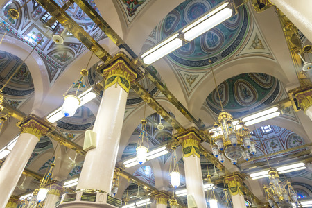 prophet: MEDINA-MAR 6 : Interior of Masjid Nabawi March 6, 2015 in Medina, Saudi Arabia. Nabawi Mosque is the second holiest mosque in Islam and here is Prophet Muhammad is laid to rest Editorial