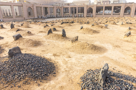 muslim: View of Baqee Muslim cemetary at Masjid (mosque) Nabawi in Al Madinah, Kingdom of Saudi Arabia. Stock Photo